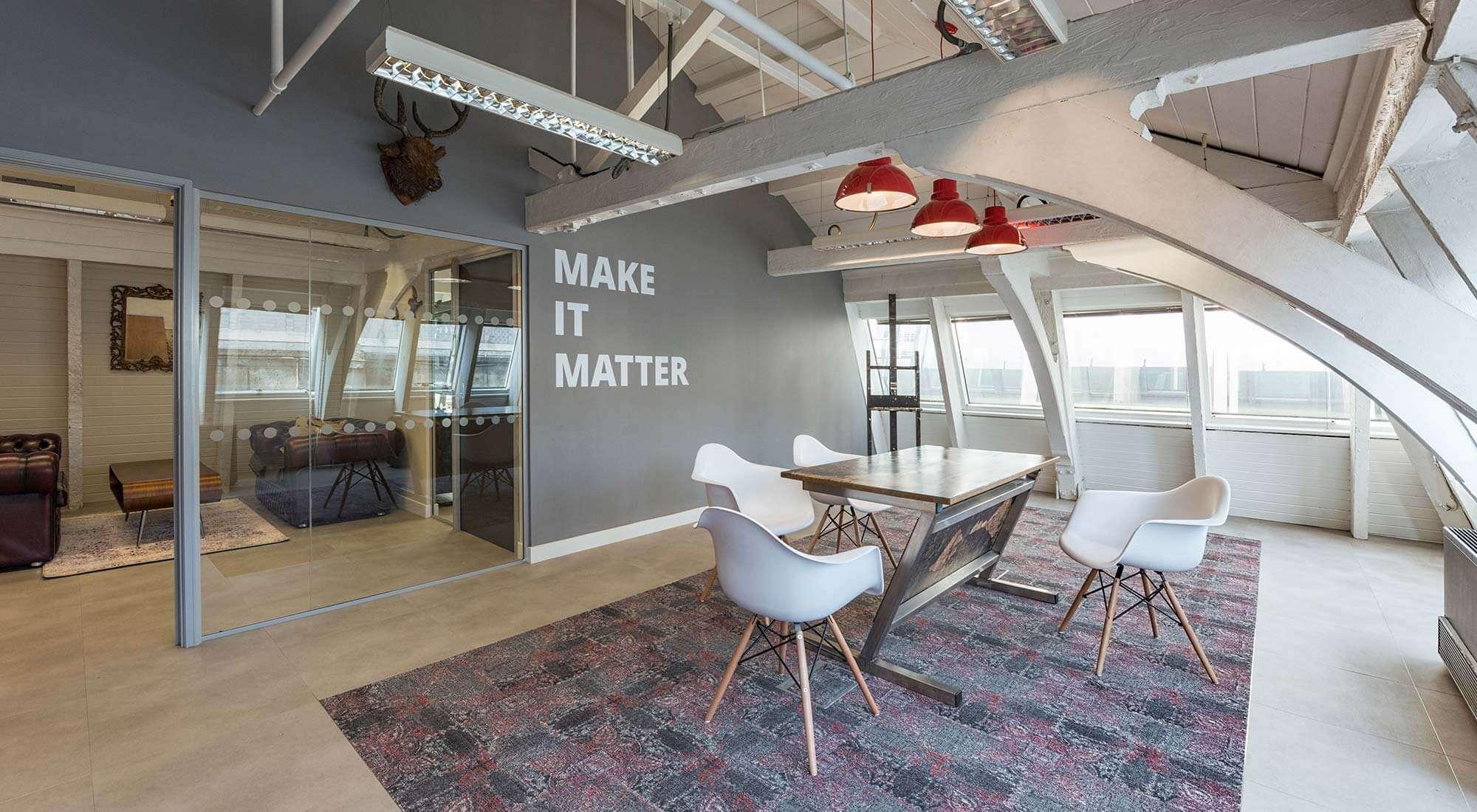 london office board room with milliken carpet feature