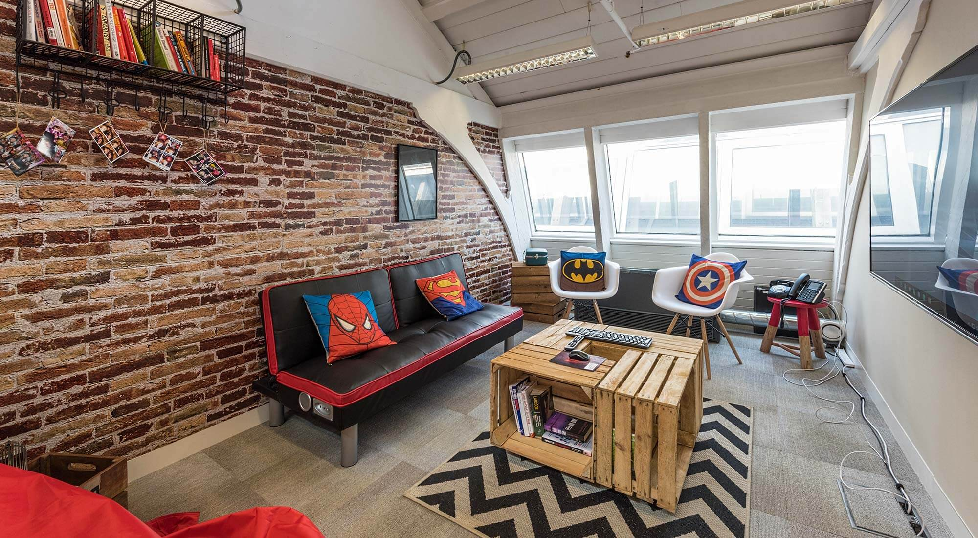 london office loft meeting room with feature brick wall