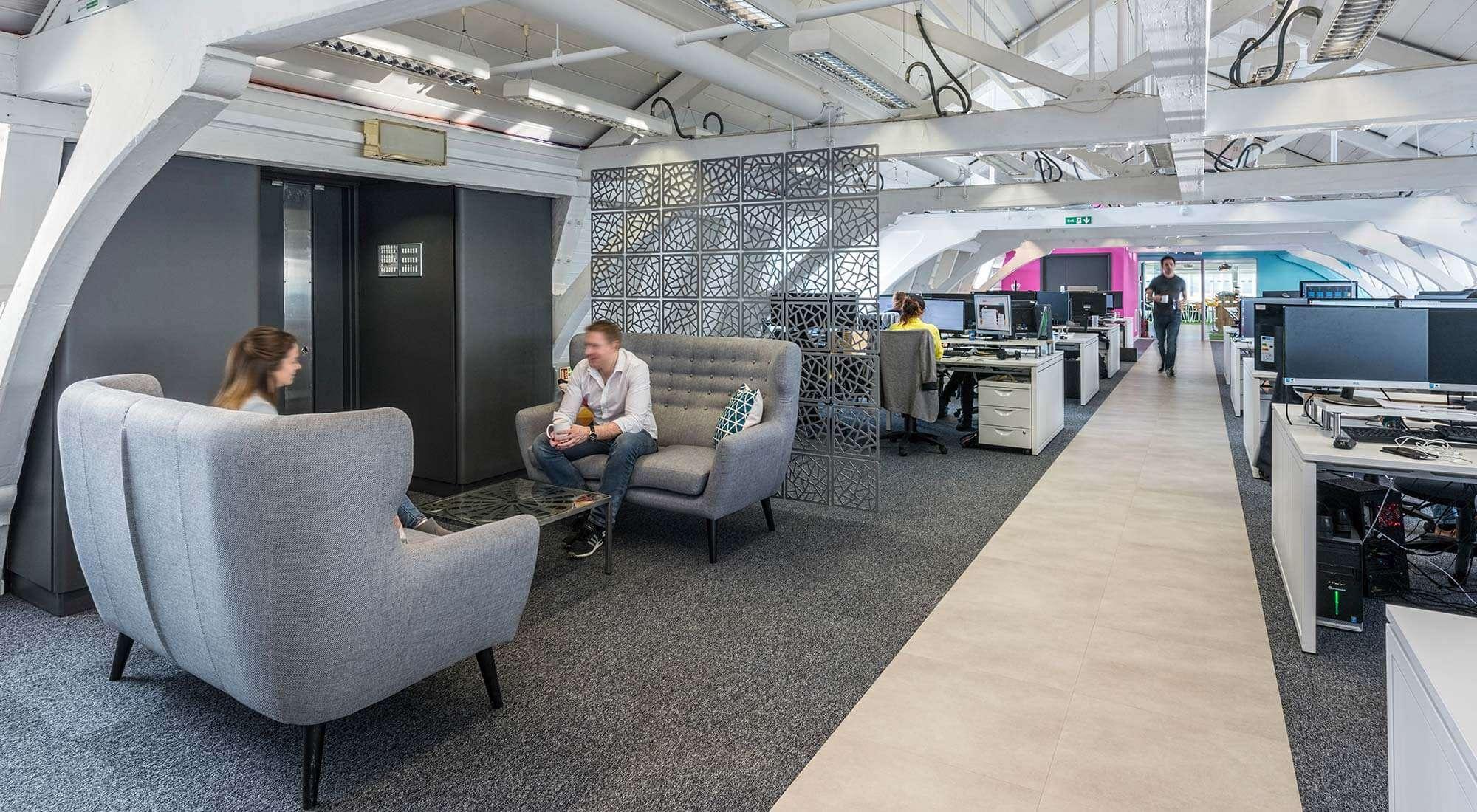 london office open plan informal meeting area