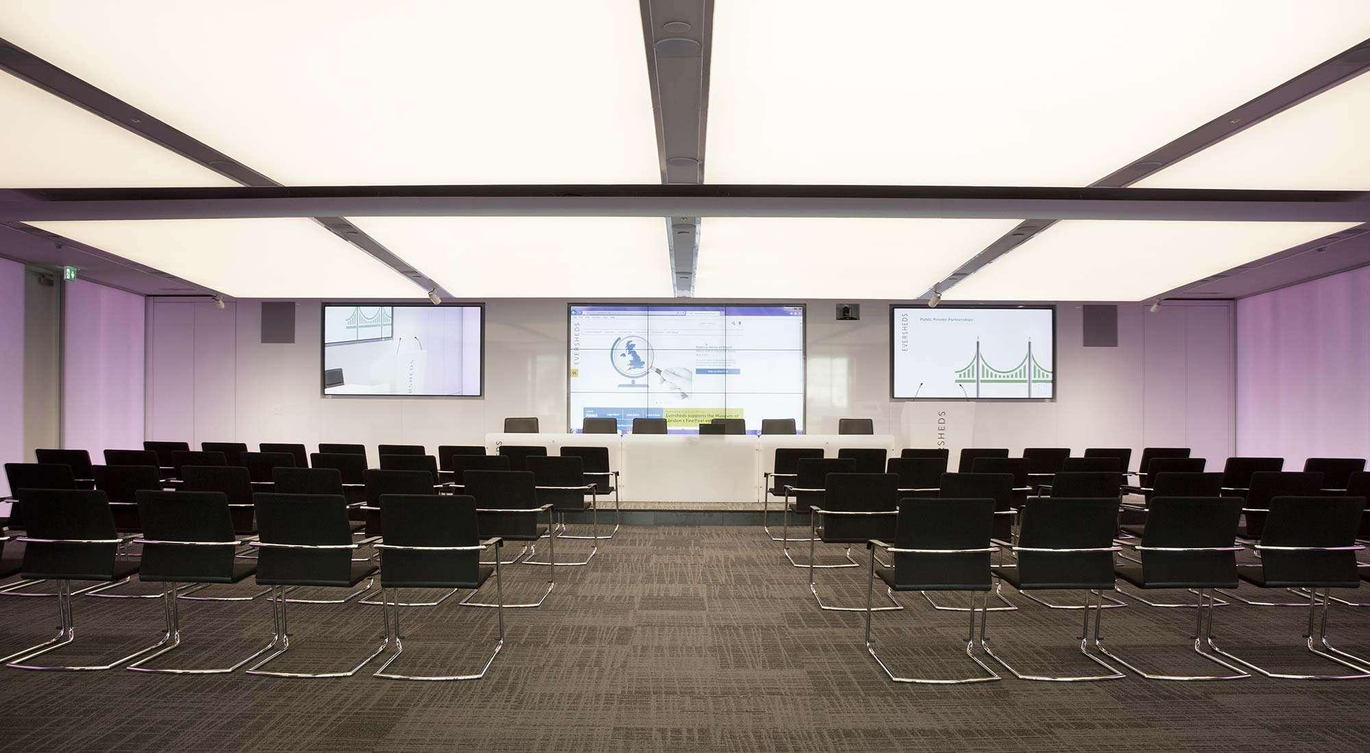 london hq auditorium feature lighting colour led walls light raft