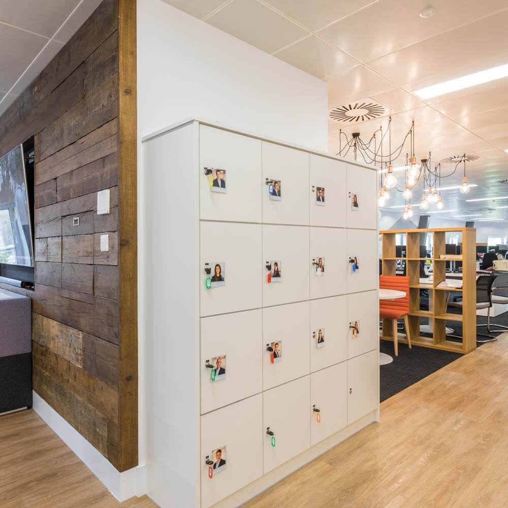 london office bespoke reclaimed timber media wall