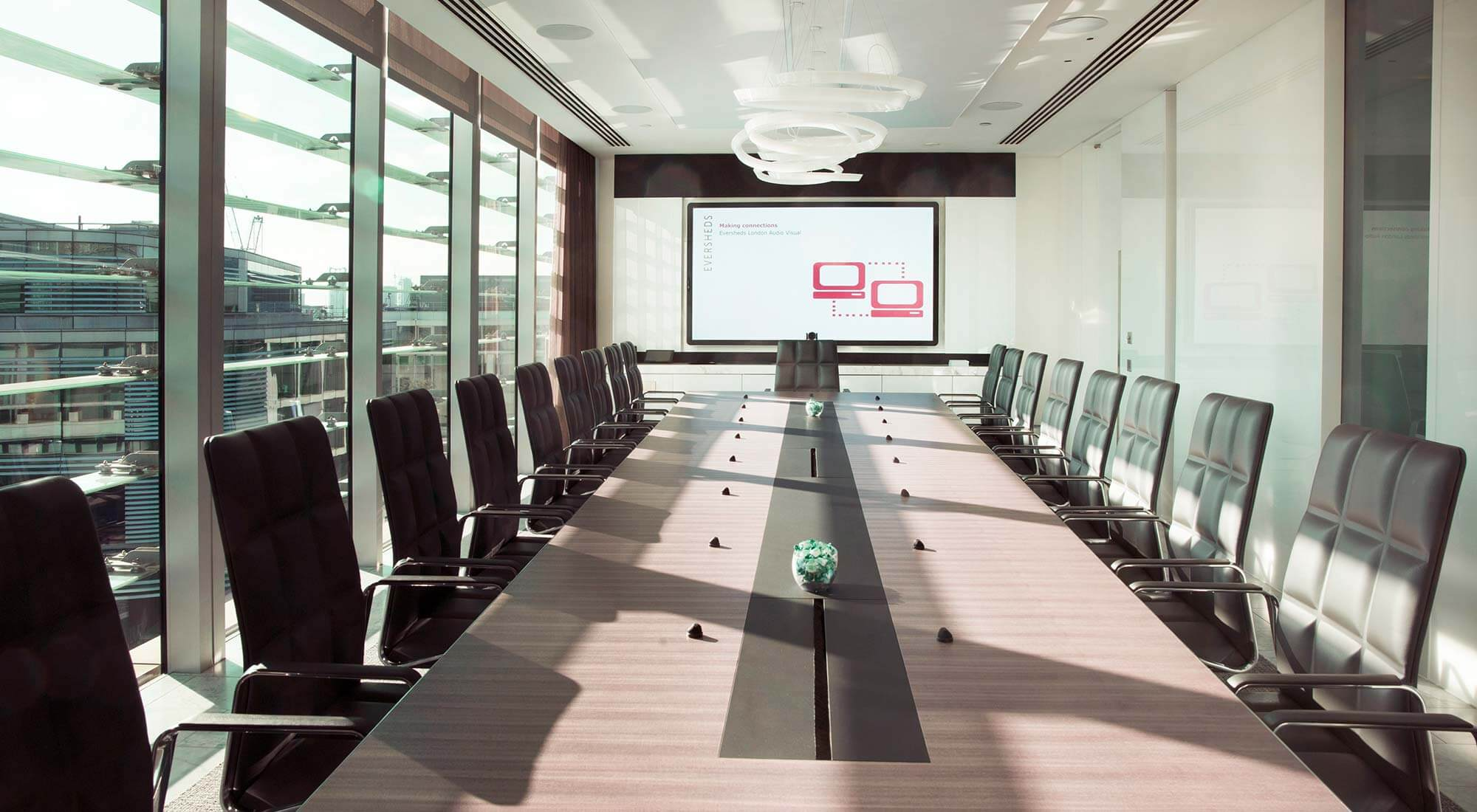 london hq boardroom table with walter knoll lead chairs