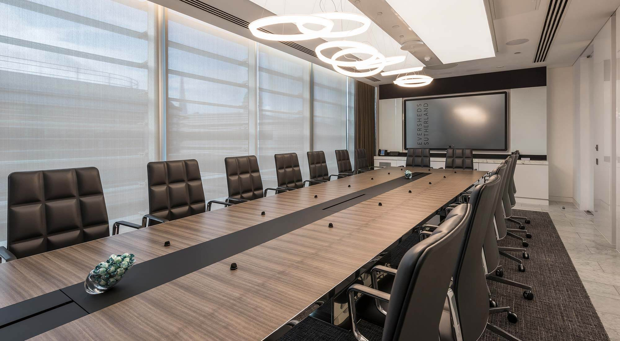 london hq boardroom vibia feature pendants and light raft