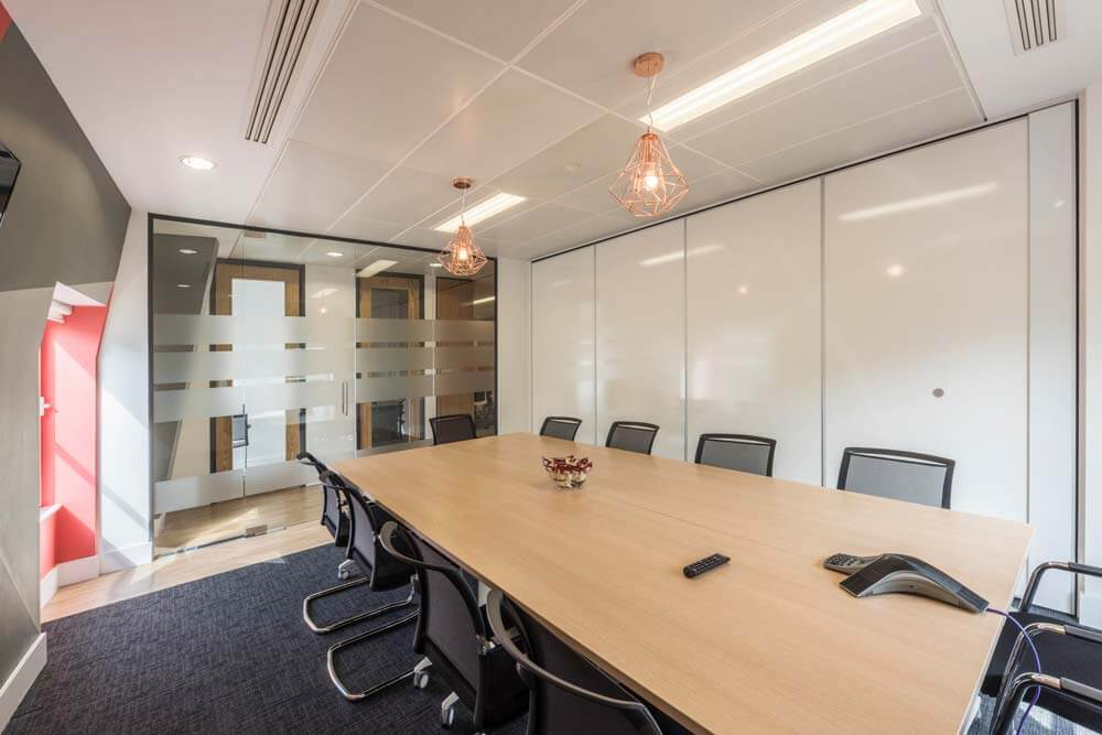 london office boardroom with closed folding wall