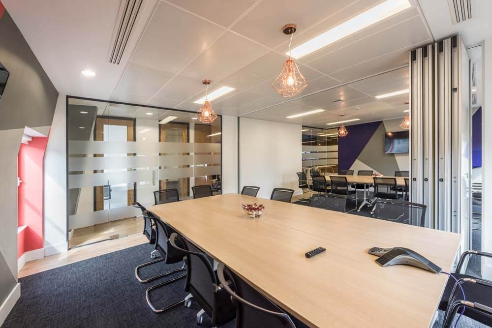 london office boardroom with open folding wall