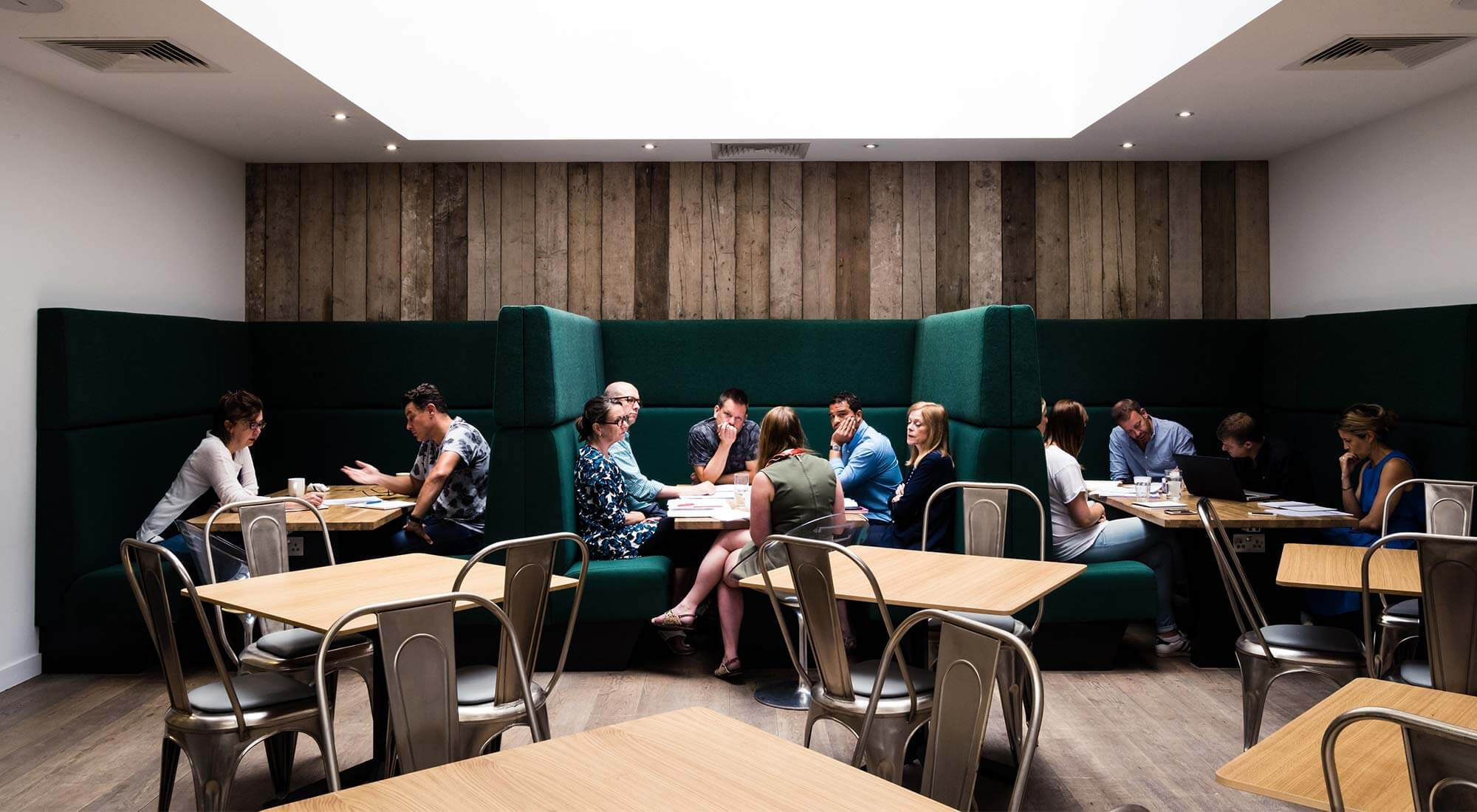 london office breakout booths with recycled materials