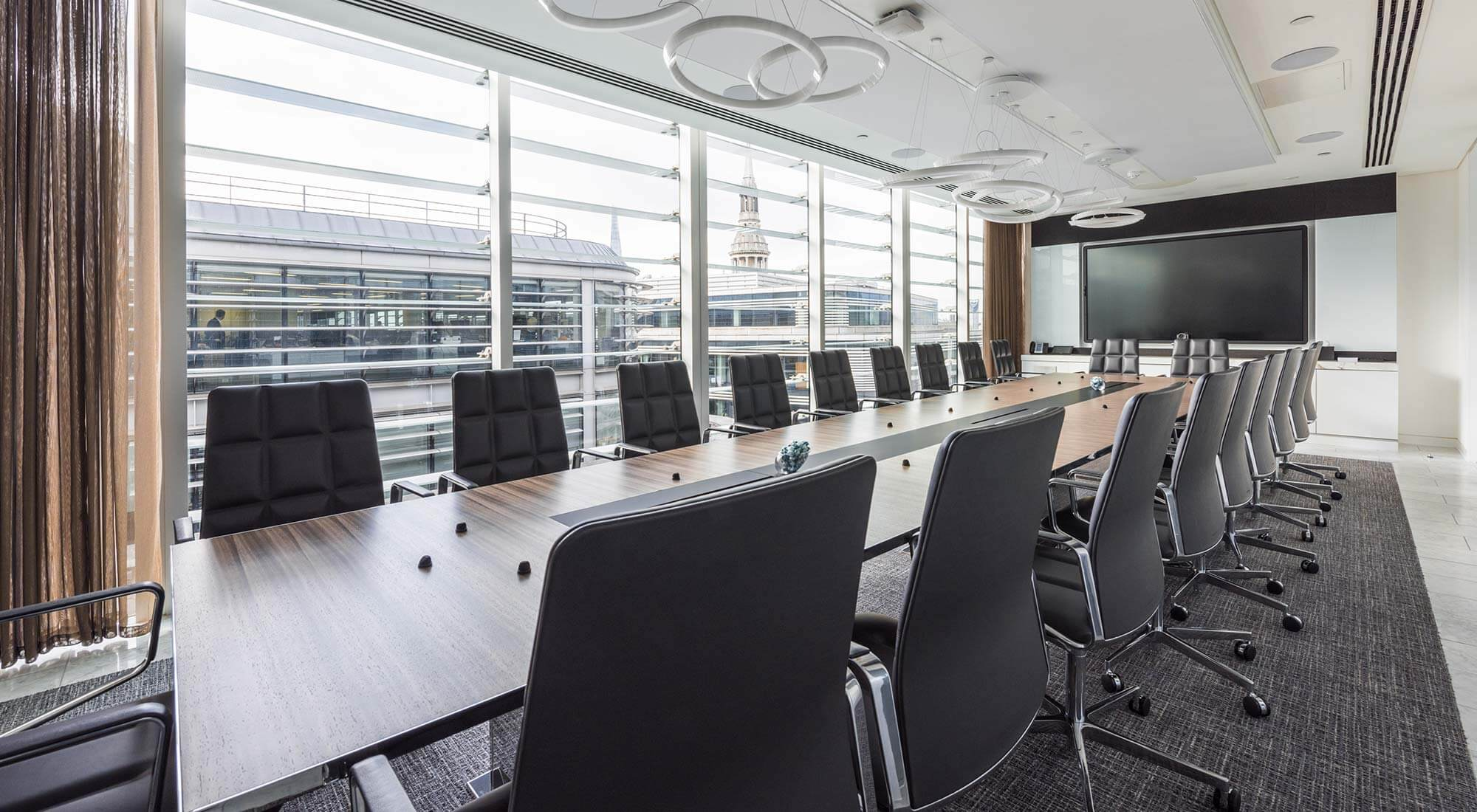 london hq boardroom bespoke table and walter knoll chairs