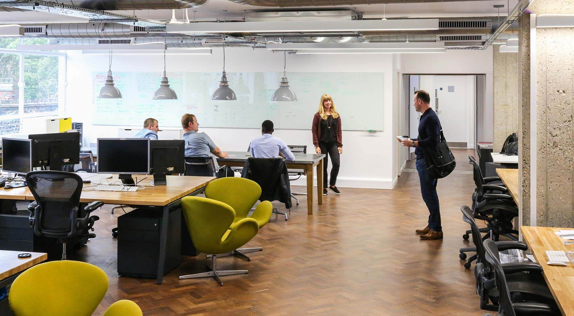 london office open plan office design and desk tops