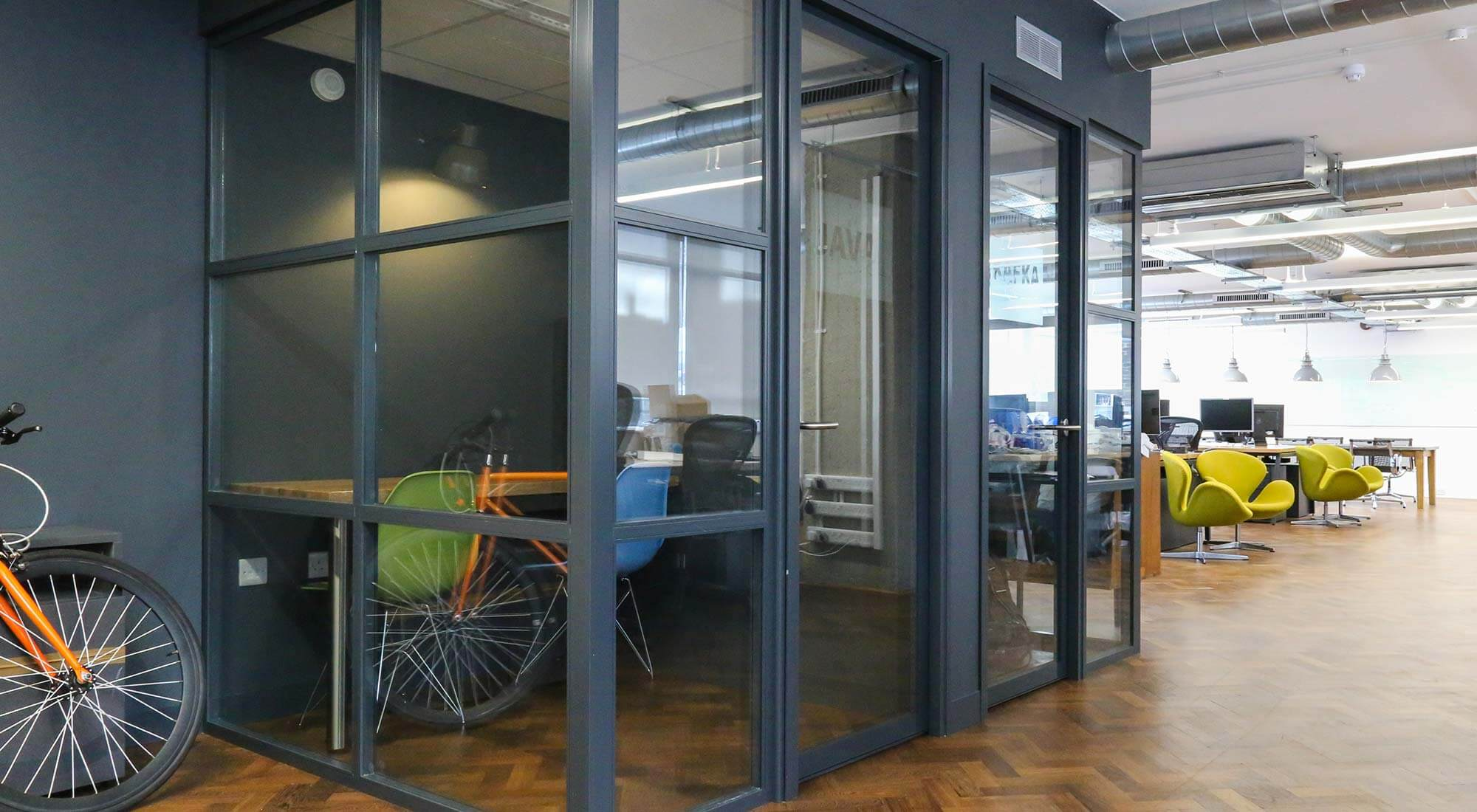 london office quiet rooms with crittal style partitions