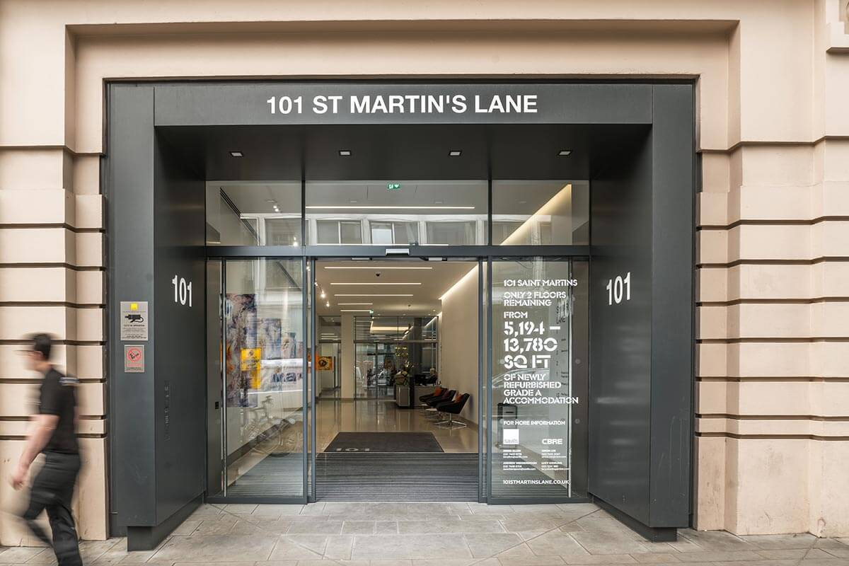 london showroom office entrance reception 101 st martins lane