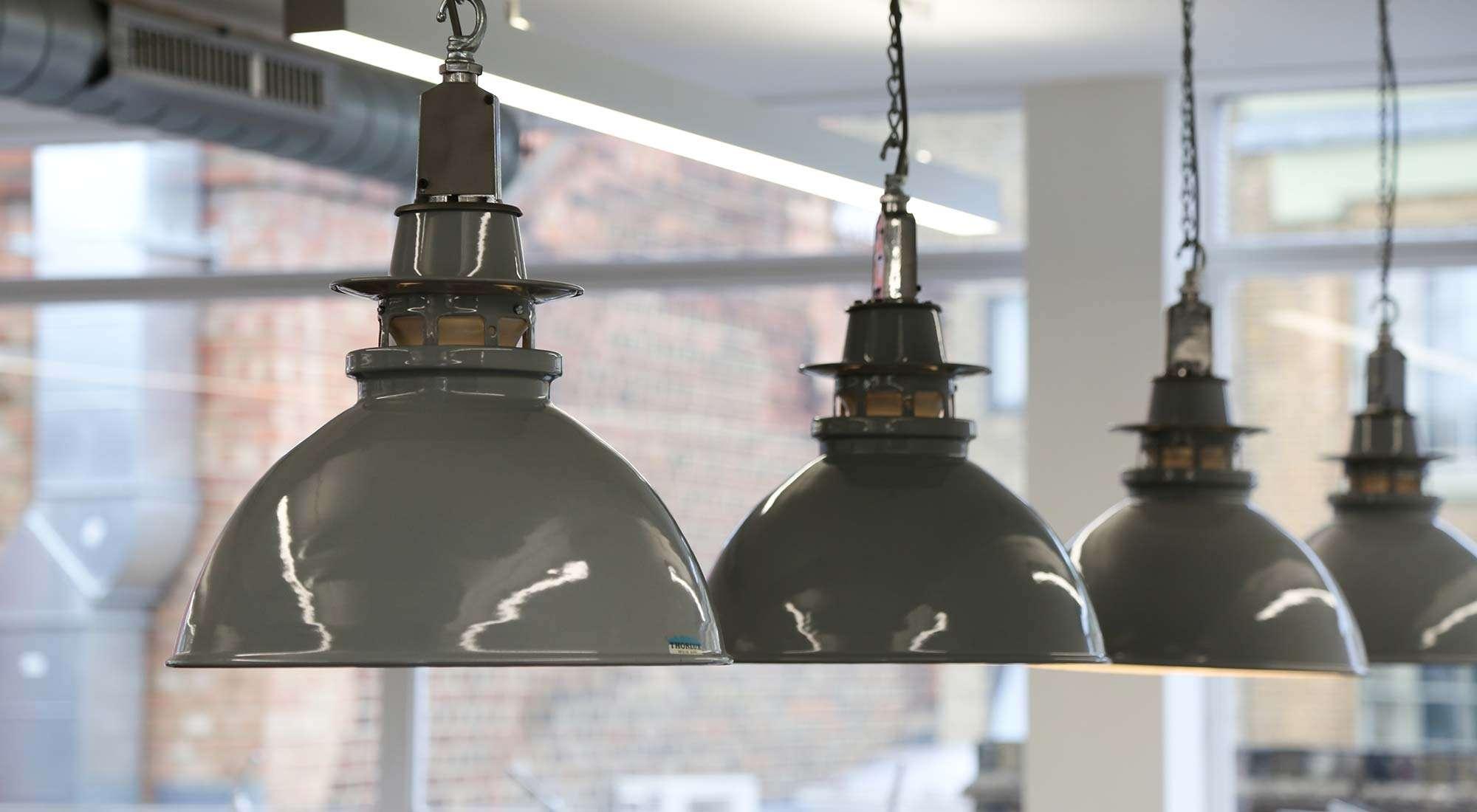 london office reclaimed industrial pendants