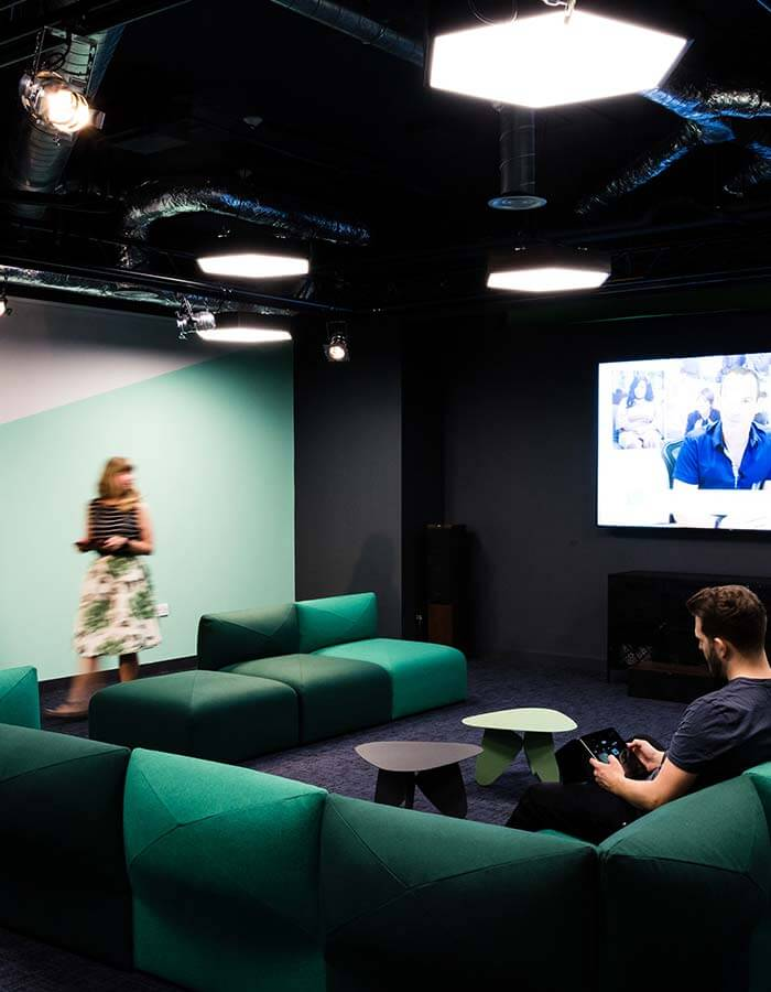 london office green screen sofas