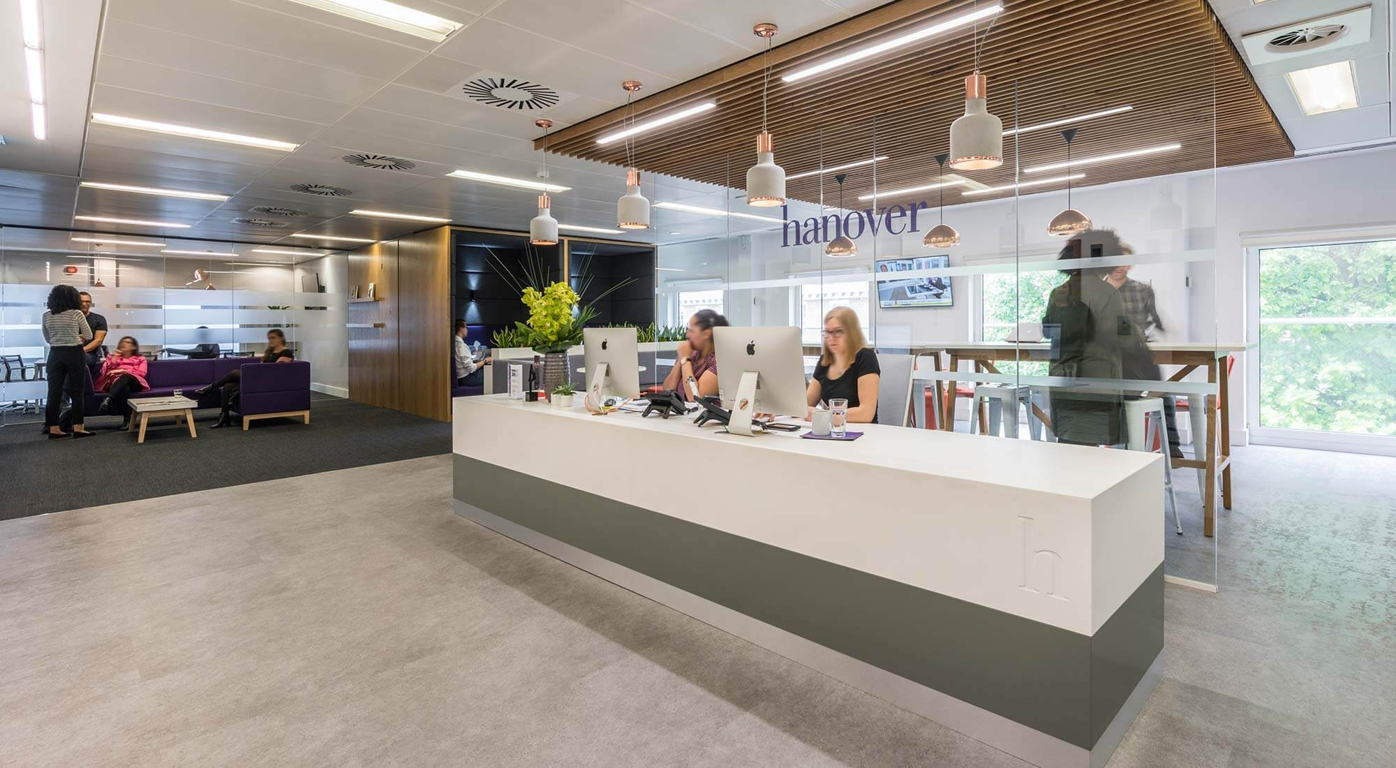 london office reception area with concrete vinyl floor