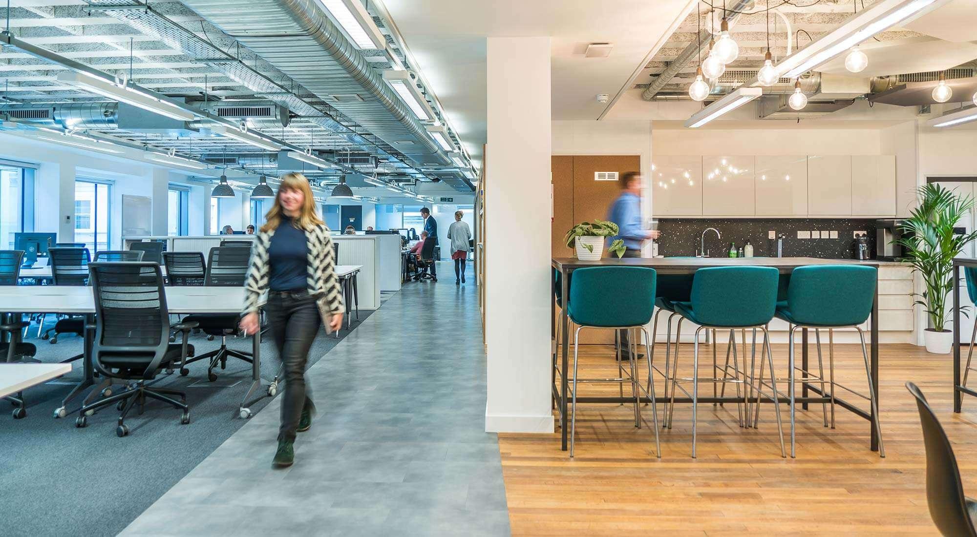 Reclaimed Floor Kitchen Design Office Walkway