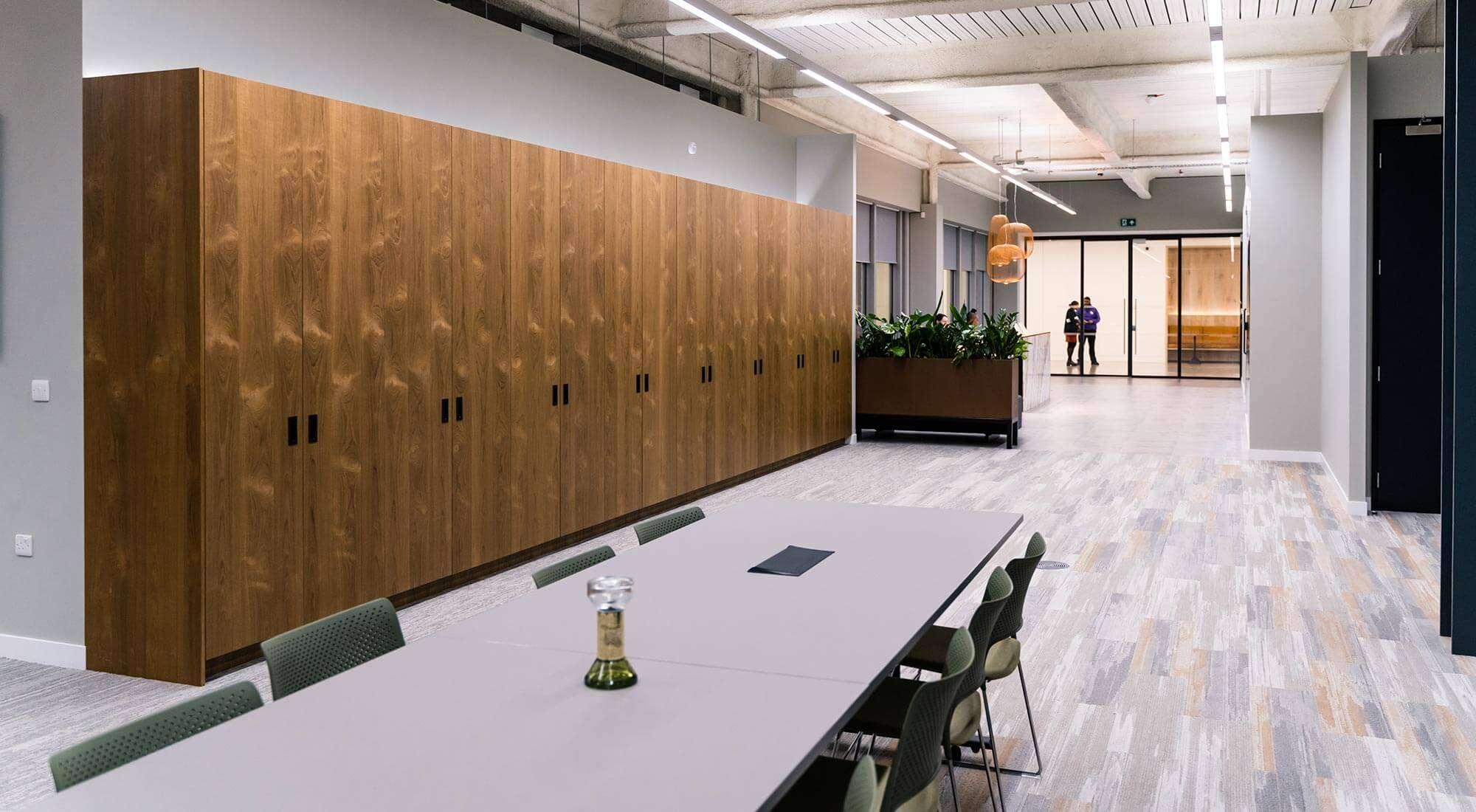 Office refurbishment with Reception teak wardrobe